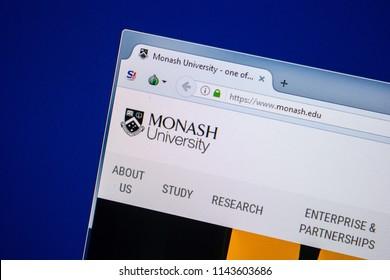 Ryazan, Russia - July 25, 2018: Homepage of Monash website on the display of PC. Url - Monash.edu .