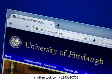 Ryazan, Russia - July 25, 2018: Homepage of Pitt website on the display of PC. Url - Pitt.edu .