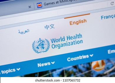 Ryazan, Russia - June 05, 2018: Homepage of World Healt Organisation website on the display of PC, url - Who.int.