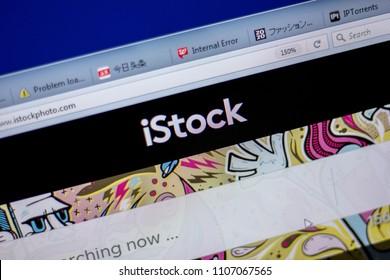 Ryazan, Russia - June 05, 2018: Homepage of Istockphoto website on the display of PC, url - Istockphoto.com.
