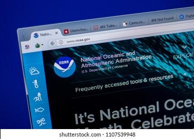Ryazan, Russia - June 05, 2018: Homepage of Noaa website on the display of PC, url - Noaa.gov.