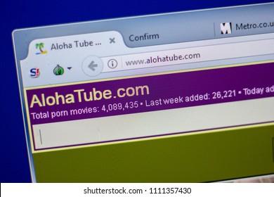 Ryazan Russia June 05 2018 Homepage Of Alohatube Website On The Display