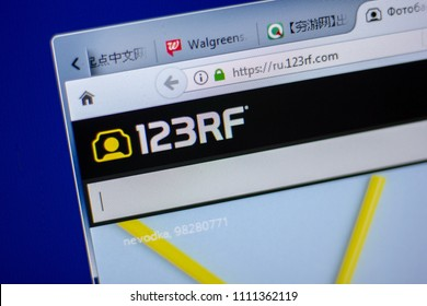 Ryazan, Russia - June 05, 2018: Homepage of 123rf website on the display of PC, url - 123rf.com.