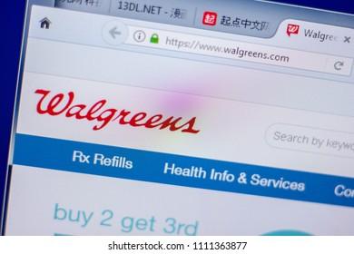 Ryazan, Russia - June 05, 2018: Homepage of Walgreens website on the display of PC, url - Walgreens.com.