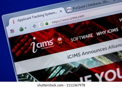 Ryazan, Russia - June 05, 2018: Homepage of Icims website on the display of PC, url - Icims.com.