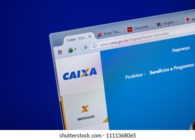 Ryazan, Russia - June 05, 2018: Homepage of Caixa website on the display of PC, url - Caixa.gov.br.