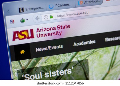 Ryazan, Russia - June 05, 2018: Homepage of Arizona State University website on the display of PC, url - Asu.edu.