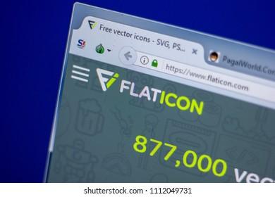 Ryazan, Russia - June 05, 2018: Homepage of FlatIcon website on the display of PC, url - FlatIcon.com.