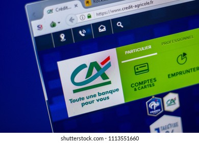 Ryazan, Russia - June 05, 2018: Homepage of Credit-Agricole website on the display of PC, url - Credit-Agricole.fr.