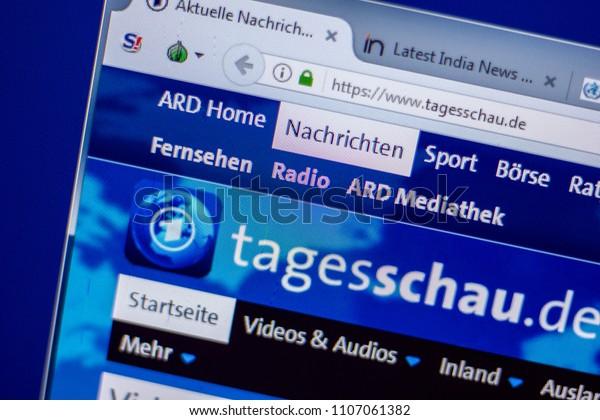 Ryazan, Russia - June 05, 2018: Homepage of Tagesschau website on the display of PC, url - Tagesschau.de.