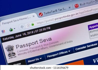Ryazan, Russia - June 16, 2018: Homepage of PassportIndia website on the display of PC, url - PassportIndia.gov.in.