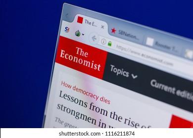 Ryazan, Russia - June 16, 2018: Homepage of Economist website on the display of PC, url - Economist.com.