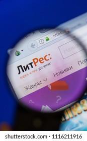 Ryazan, Russia - June 16, 2018: Homepage of LitRes website on the display of PC, url - LitRes.ru.