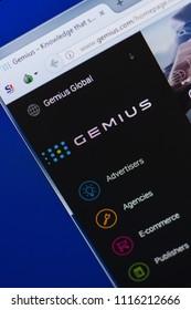 Ryazan, Russia - June 16, 2018: Homepage of Gemius website on the display of PC, url - Gemius.com.