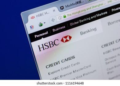 Ryazan, Russia - June 17, 2018: Homepage of HSBC website on the display of PC, url - HSBC.com.hk.