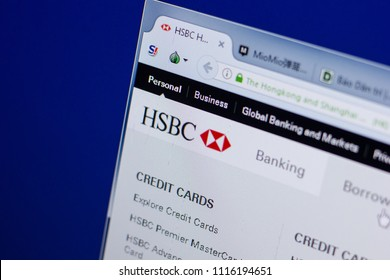 Ryazan, Russia - June 17, 2018: Homepage of HSBC website on the display of PC, url - HSBC.com.hk.