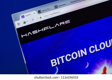 Ryazan, Russia - June 17, 2018: Homepage of HashFlare website on the display of PC, url - HashFlare.io.