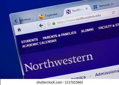 Ryazan, Russia - June 17, 2018: Homepage of NorthWestern website on the display of PC, url - NorthWestern.edu.