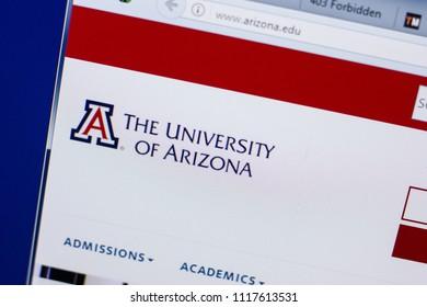 Ryazan, Russia - June 17, 2018: Homepage of University of Arizona website on the display of PC, url - Arizona.edu.