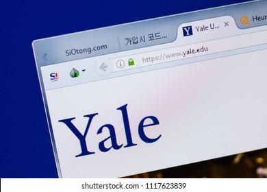 Ryazan, Russia - June 17, 2018: Homepage of Yale University website on the display of PC, url - Yale.edu.