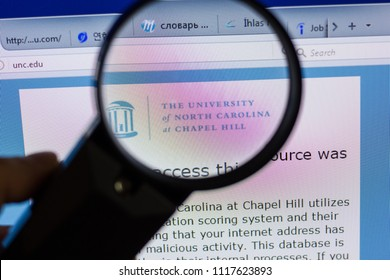 Ryazan, Russia - June 17, 2018: Homepage of The University of North Carolina at chapel hill website on the display of PC, url - UNC.edu.