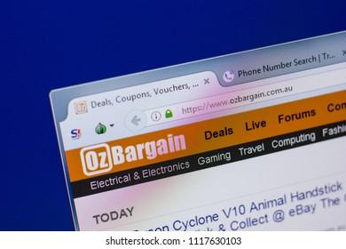 Ryazan, Russia - June 17, 2018: Homepage of OzBargain website on the display of PC, url - OzBargain.com.au.