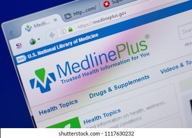 Ryazan, Russia - June 17, 2018: Homepage of MedlinePlus website on the display of PC, url - MedlinePlus.gov.