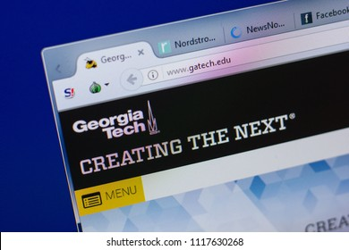 Ryazan, Russia - June 17, 2018: Homepage of Georgia Institute of Technology, Tech website on the display of PC, url - Gatech.edu.