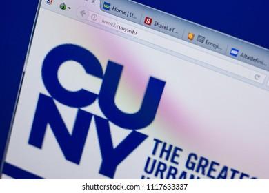Ryazan, Russia - June 17, 2018: Homepage of City University of New York website on the display of PC, url - CUNY.edu.
