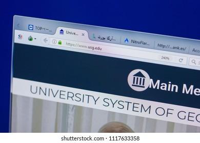 Ryazan, Russia - June 17, 2018: Homepage of University system of Georgia website on the display of PC, url - USG.edu.