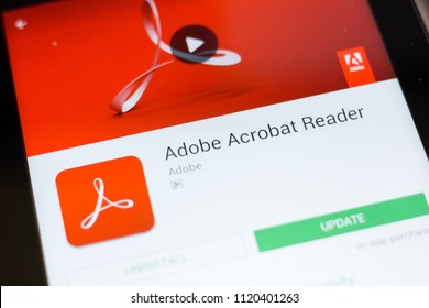 Ryazan, Russia - June 24, 2018: Adobe Acrobat Reader mobile app on the display of tablet PC.