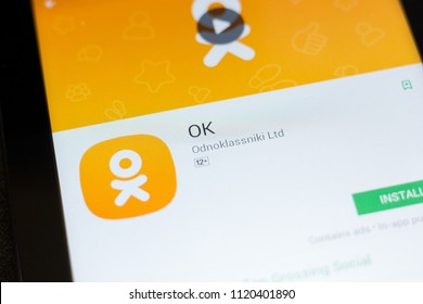 Ryazan, Russia - June 24, 2018: OK, Odnoklassniki mobile app on the display of tablet PC.