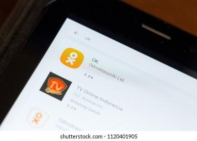Ryazan, Russia - June 24, 2018: OK, Odnoklassniki icon on the list of mobile apps.