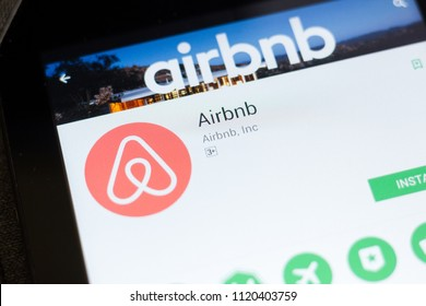 Ryazan, Russia - June 24, 2018: Airbnb mobile app on the display of tablet PC.