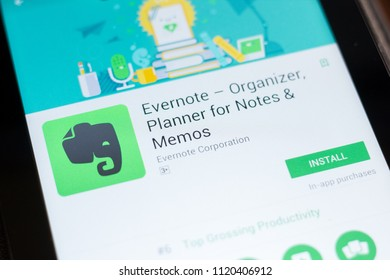 Ryazan, Russia - June 24, 2018: Evernote - Organizer, Planner for Notes mobile app on the display of tablet PC.