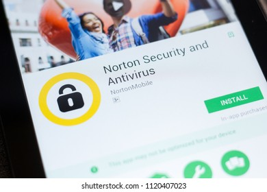 Ryazan, Russia - June 24, 2018: Norton Security and Antivirus mobile app on the display of tablet PC.