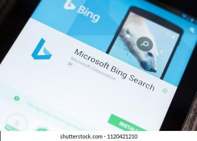 Ryazan, Russia - June 24, 2018: Microsoft Bing Search mobile app on the display of tablet PC.