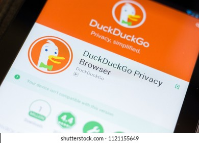 Ryazan, Russia - June 24, 2018: DuckDuckGo Privace Browser mobile app on the display of tablet PC.