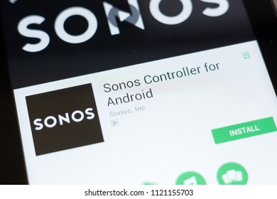 Ryazan, Russia - June 24, 2018: Sonos Controller for Android mobile app on the display of tablet PC.