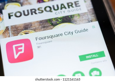 Ryazan, Russia - June 24, 2018: Foursquare City Guide mobile app on the display of tablet PC.
