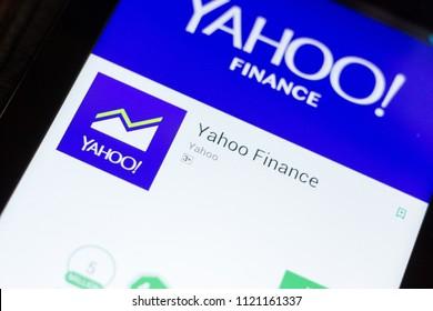 Ryazan, Russia - June 24, 2018: Yahoo Finance mobile app on the display of tablet PC.