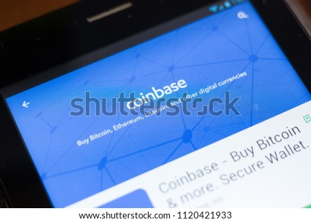 Ryazan, Russia - June 24, 2018: Coinbase - Buy Bitcoin and More, Secure Wallet mobile app on the display of tablet PC.