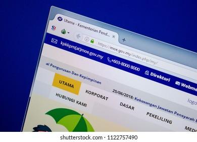 Ryazan, Russia - June 26, 2018: Homepage of Moe website on the display of PC. URL - Moe.gov.my.