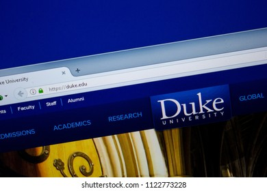 Ryazan, Russia - June 26, 2018: Homepage of Duke website on the display of PC. URL - Duke.edu.