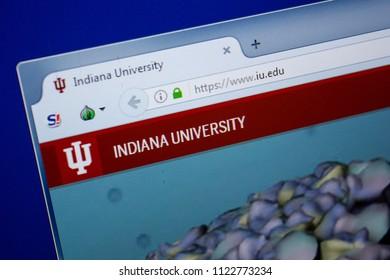 Ryazan, Russia - June 26, 2018: Homepage of IU website on the display of PC. URL - IU.edu.