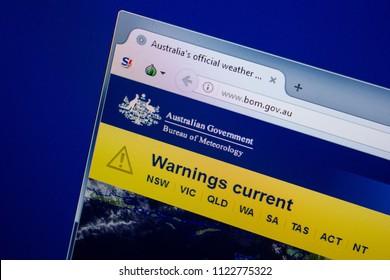 Ryazan, Russia - June 26, 2018: Homepage of Bom website on the display of PC. URL - Bom.gov.au.