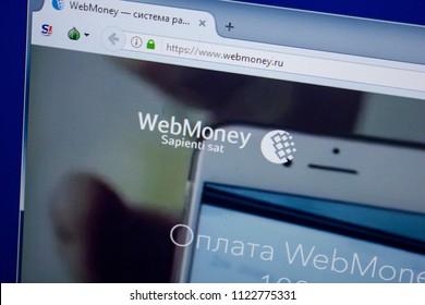 Ryazan, Russia - June 26, 2018: Homepage of Webmoney website on the display of PC. URL - Webmoney.ru.