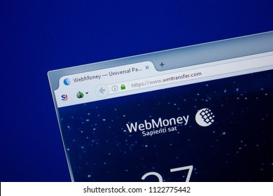 Ryazan, Russia - June 26, 2018: Homepage of WMtransfer website on the display of PC. URL - WMtransfer.com.