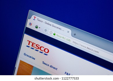 Ryazan, Russia - June 26, 2018: Homepage of Tesco website on the display of PC. URL - Tesco.com.