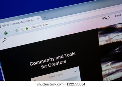 Ryazan, Russia - June 26, 2018: Homepage of VSCO website on the display of PC. URL - VSCO.co.